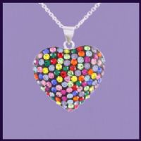 Multi-coloured Swarovski Crystal Heart
